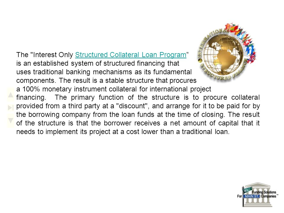 The Interest Only Structured Collateral Loan Program is an established system of structured financing that uses traditional banking mechanisms as its fundamental components.