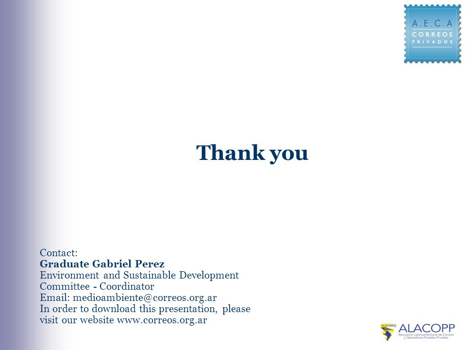 Contact: Graduate Gabriel Perez Environment and Sustainable Development Committee - Coordinator   In order to download this presentation, please visit our website   Thank you