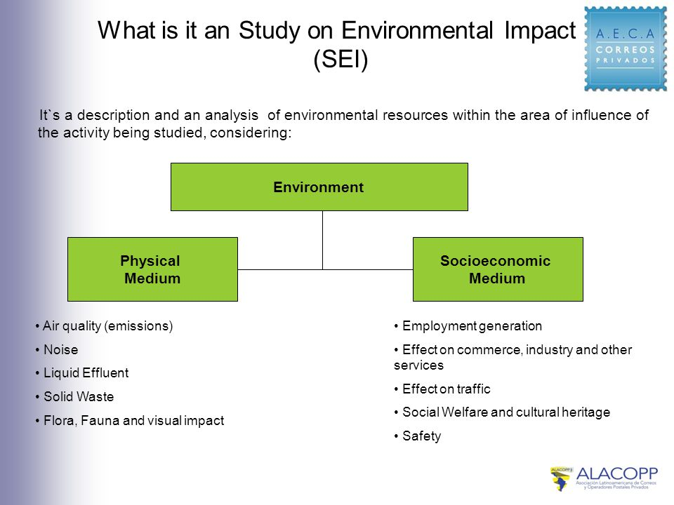 What is it an Study on Environmental Impact (SEI) It`s a description and an analysis of environmental resources within the area of influence of the activity being studied, considering: Environment Physical Medium Socioeconomic Medium Air quality (emissions) Noise Liquid Effluent Solid Waste Flora, Fauna and visual impact Employment generation Effect on commerce, industry and other services Effect on traffic Social Welfare and cultural heritage Safety