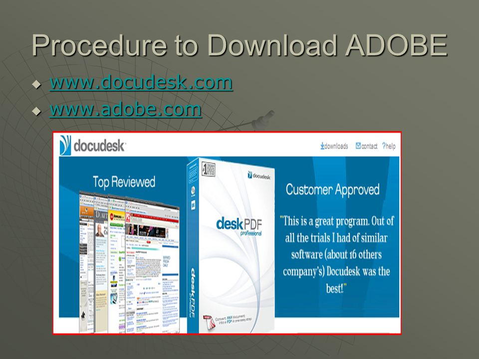Procedure to Download ADOBE      
