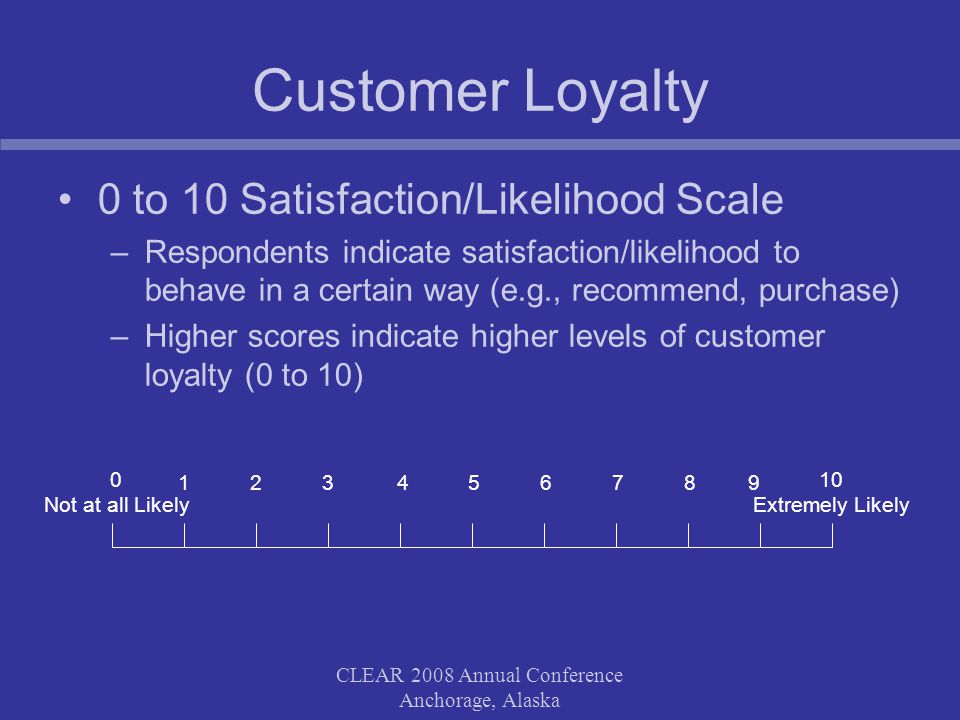 CLEAR 2008 Annual Conference Anchorage, Alaska Customer Loyalty 0 to 10 Satisfaction/Likelihood Scale –Respondents indicate satisfaction/likelihood to behave in a certain way (e.g., recommend, purchase) –Higher scores indicate higher levels of customer loyalty (0 to 10) 0 Not at all Likely 5 10 Extremely Likely 67891234