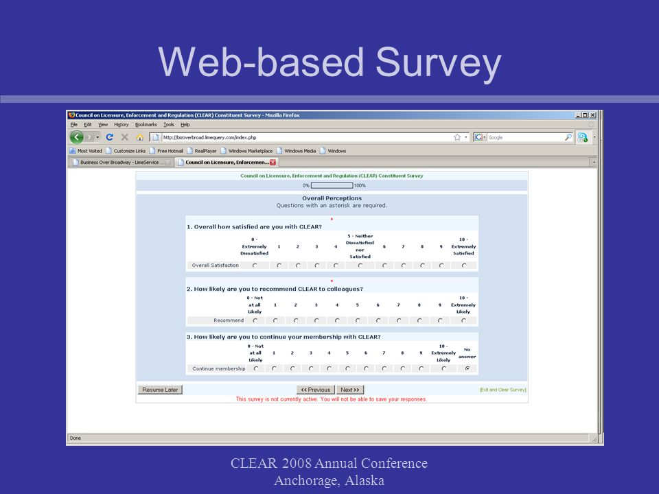 CLEAR 2008 Annual Conference Anchorage, Alaska Web-based Survey