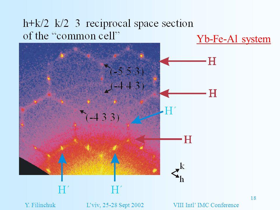 18 Yb-Fe-Al system Y. Filinchuk L'viv, 25-28 Sept 2002 VIII Intl' IMC Conference