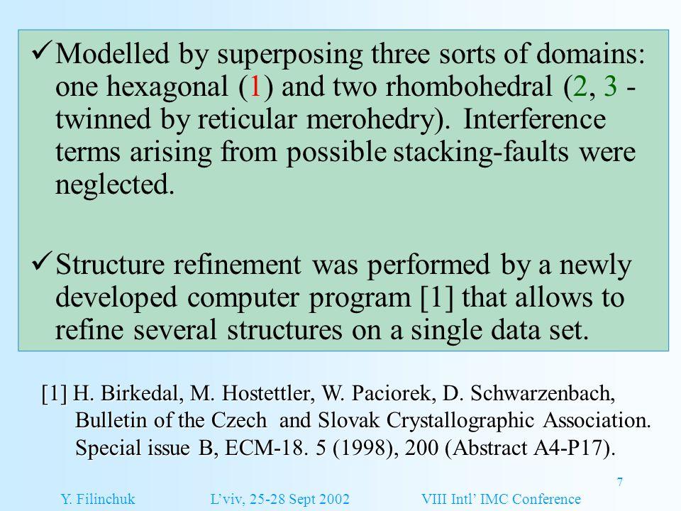 7 [1] H. Birkedal, M. Hostettler, W. Paciorek, D. Schwarzenbach, Bulletin of the Czech and Slovak Crystallographic Association. Bulletin of the Czech
