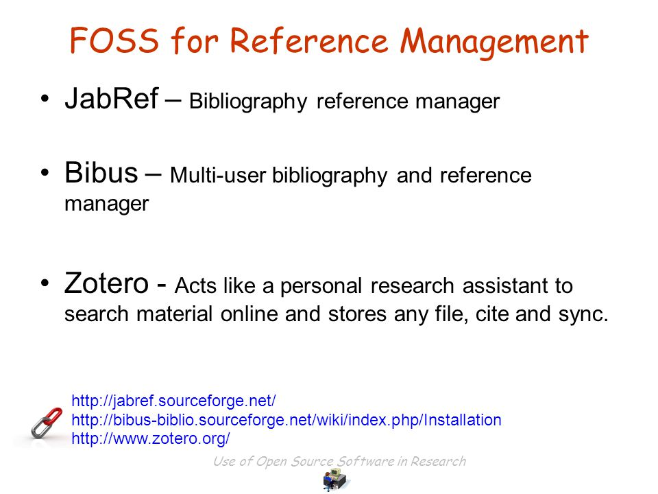 Use of Open Source Software in Research JebRef Screenshot