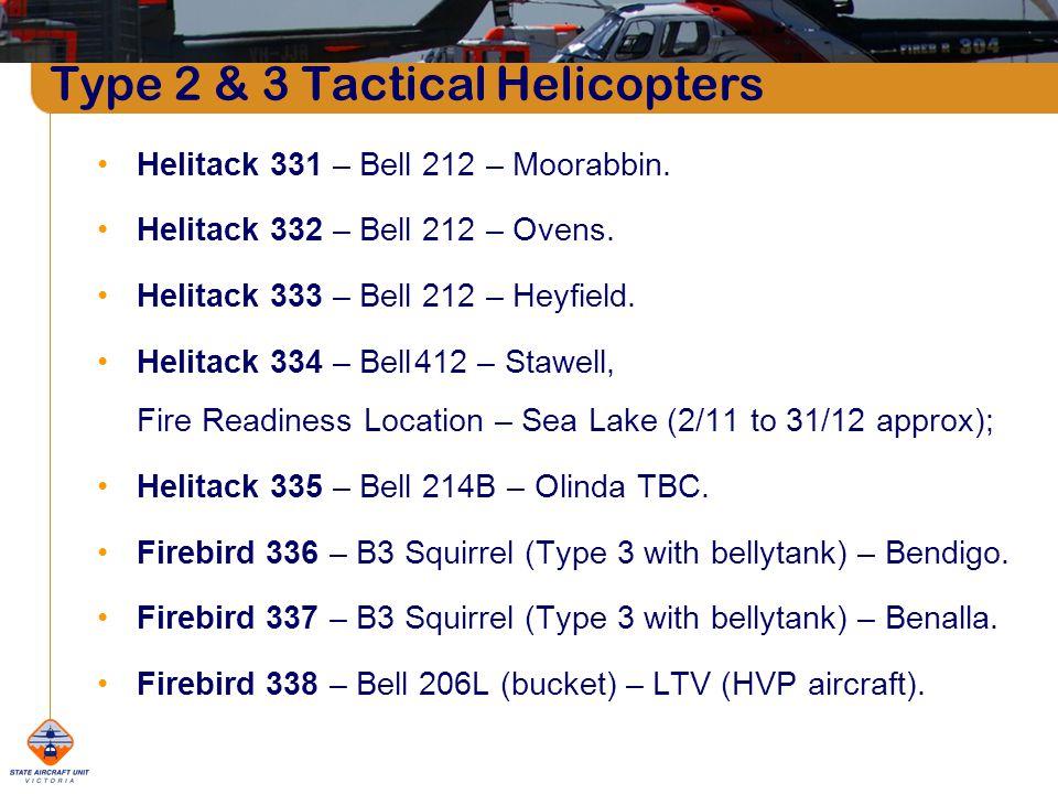 Type 2 & 3 Tactical Helicopters Helitack 331 – Bell 212 – Moorabbin.