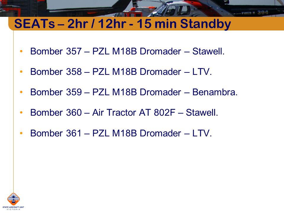 SEATs – 2hr / 12hr - 15 min Standby Bomber 357 – PZL M18B Dromader – Stawell.