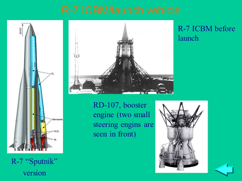"R-7 ICBM/launch vehicle R-7 ICBM before launch R-7 ""Sputnik"" version RD-107, booster engine (two small steering engins are seen in front)"