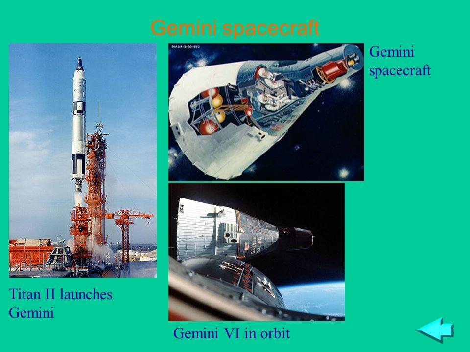Gemini spacecraft Titan II launches Gemini Gemini VI in orbit