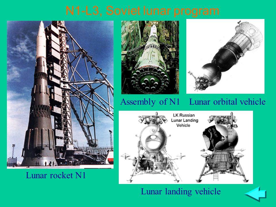 42 N1-L3, Soviet lunar program Lunar rocket N1 Assembly of N1Lunar orbital vehicle Lunar landing vehicle