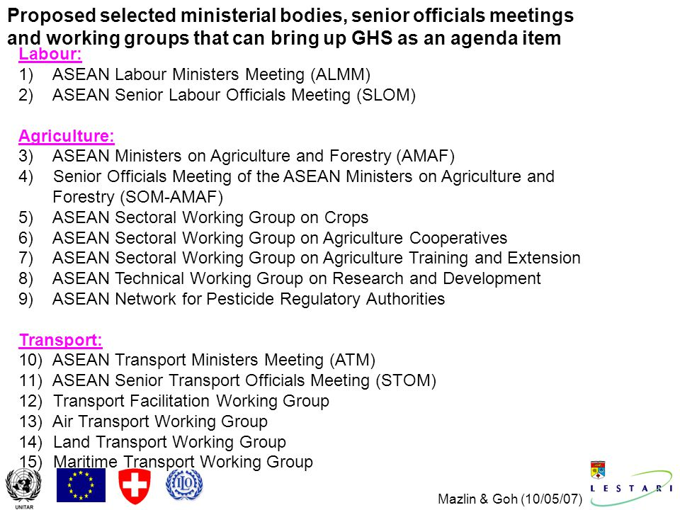 Mazlin & Goh (10/05/07) Proposed selected ministerial bodies, senior officials meetings and working groups that can bring up GHS as an agenda item Labour: 1) ASEAN Labour Ministers Meeting (ALMM) 2) ASEAN Senior Labour Officials Meeting (SLOM) Agriculture: 3) ASEAN Ministers on Agriculture and Forestry (AMAF) 4) Senior Officials Meeting of the ASEAN Ministers on Agriculture and Forestry (SOM-AMAF) 5) ASEAN Sectoral Working Group on Crops 6) ASEAN Sectoral Working Group on Agriculture Cooperatives 7) ASEAN Sectoral Working Group on Agriculture Training and Extension 8) ASEAN Technical Working Group on Research and Development 9) ASEAN Network for Pesticide Regulatory Authorities Transport: 10) ASEAN Transport Ministers Meeting (ATM) 11) ASEAN Senior Transport Officials Meeting (STOM) 12) Transport Facilitation Working Group 13) Air Transport Working Group 14) Land Transport Working Group 15) Maritime Transport Working Group