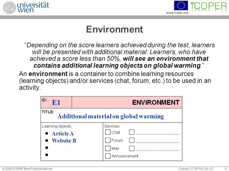 www.icoper.org License: CC BY-NC-SA 3.0© 2009 ICOPER Best Practice Network 8 Environment Depending on the score learners achieved during the test, learners will be presented with additional material: Learners, who have achieved a score less than 50%, will see an environment that contains additional learning objects on global warming. An environment is a container to combine learning resources (learning objects) and/or services (chat, forum, etc.) to be used in an activity.