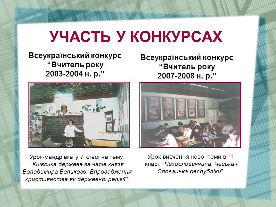 УЧАСТЬ У КОНКУРСАХ Всеукраїнський конкурс Вчитель року 2003-2004 н.