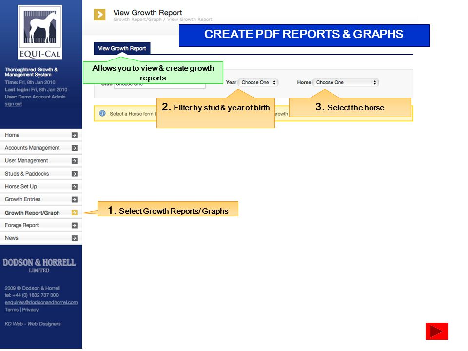 CREATE PDF REPORTS & GRAPHS 1. Select Growth Reports/ Graphs 2.