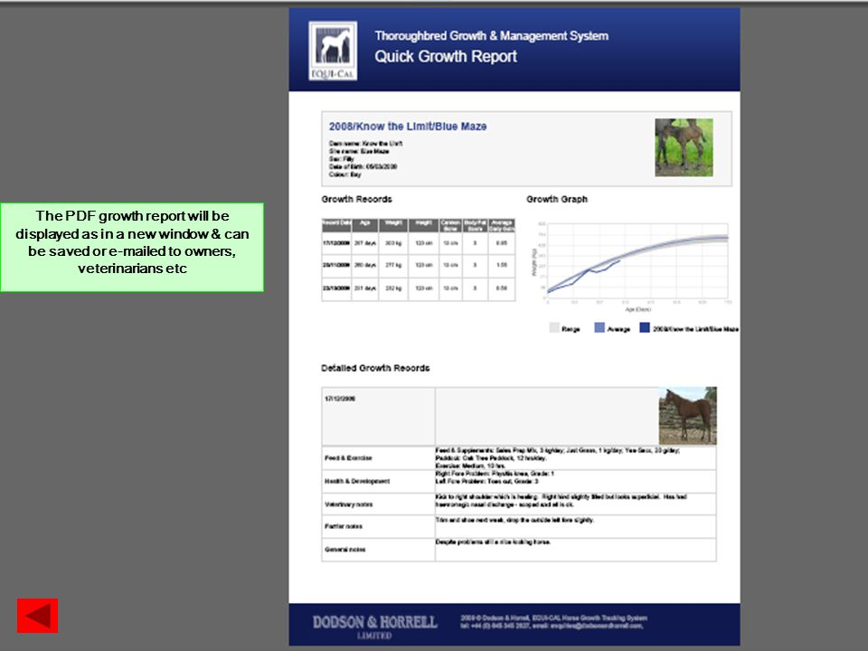 The PDF growth report will be displayed as in a new window & can be saved or  ed to owners, veterinarians etc