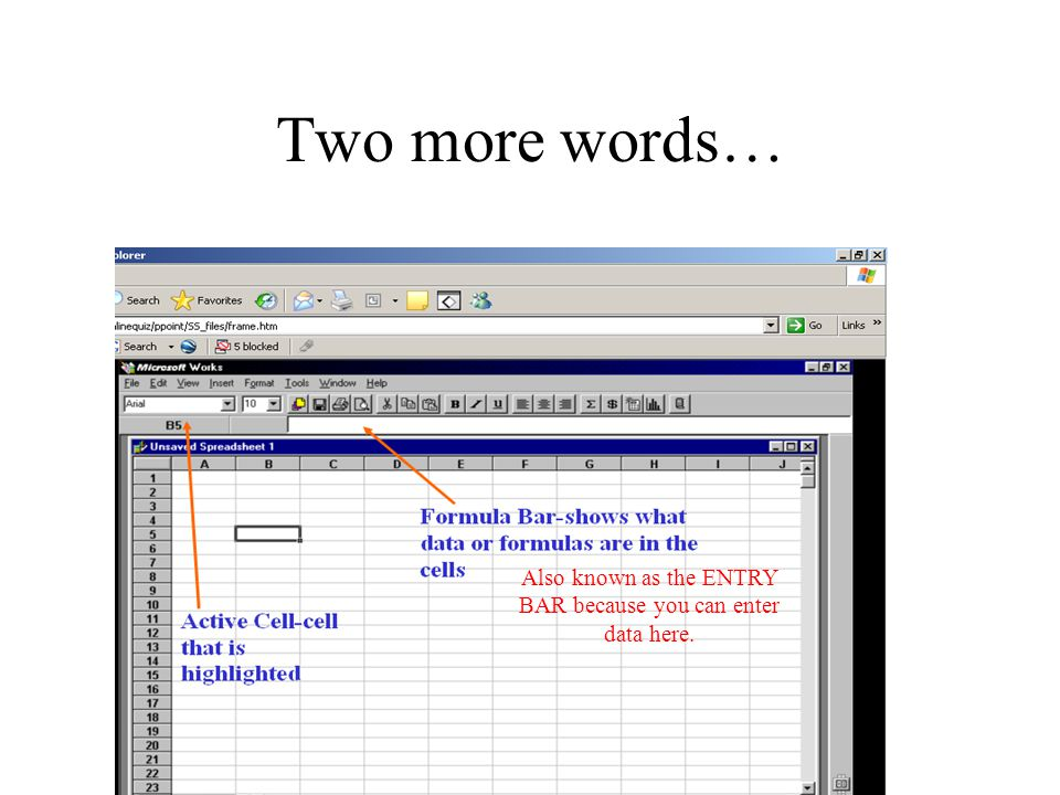 Two more words… Also known as the ENTRY BAR because you can enter data here.