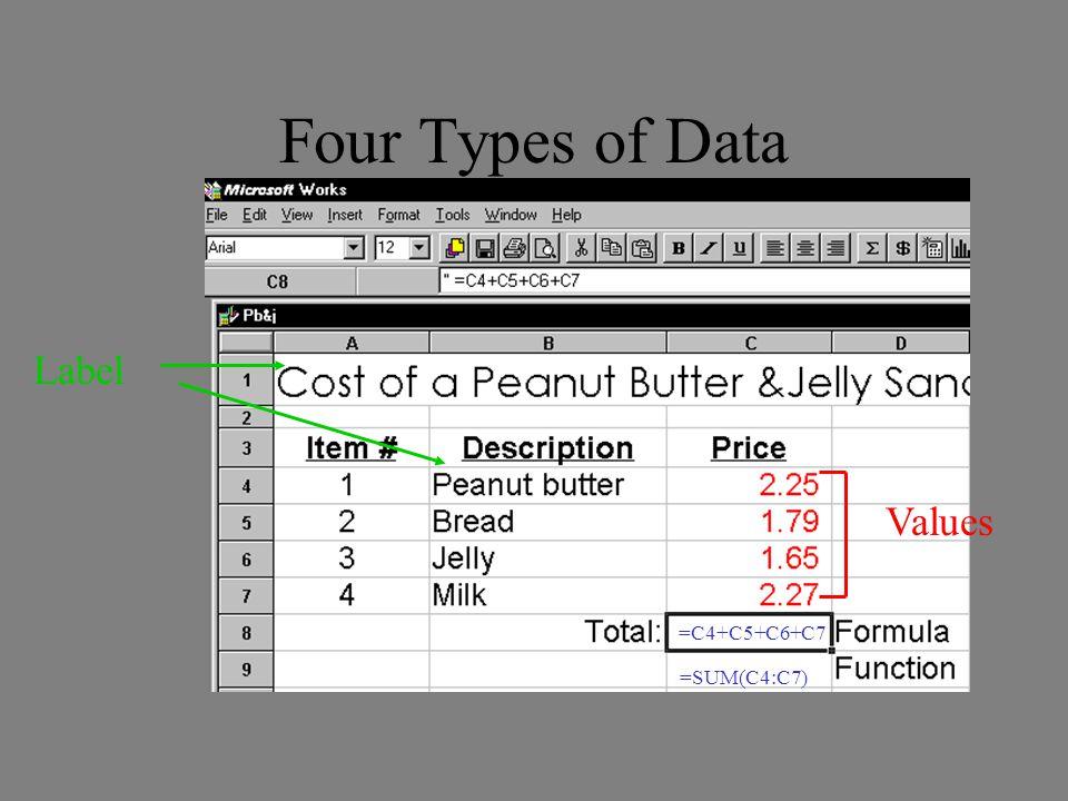 Four Types of Data Label Values =C4+C5+C6+C7 =SUM(C4:C7)