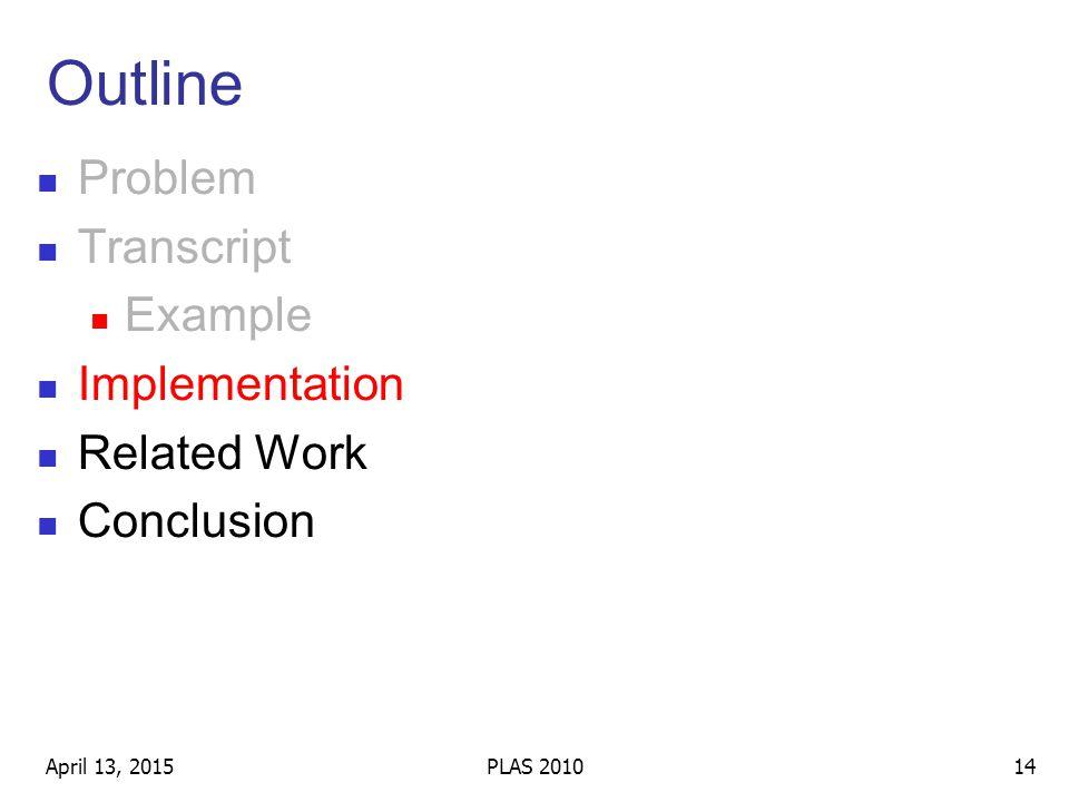 Outline Problem Transcript Example Implementation Related Work Conclusion April 13, 201514PLAS 2010