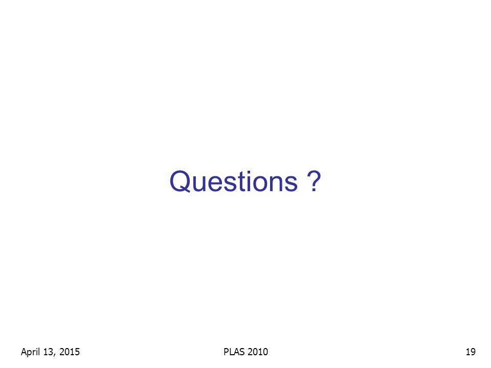 Questions April 13, 201519PLAS 2010