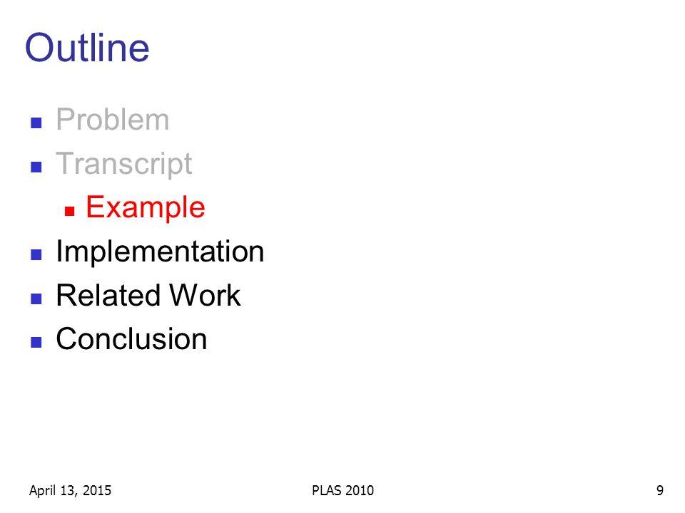 Outline Problem Transcript Example Implementation Related Work Conclusion April 13, 20159PLAS 2010