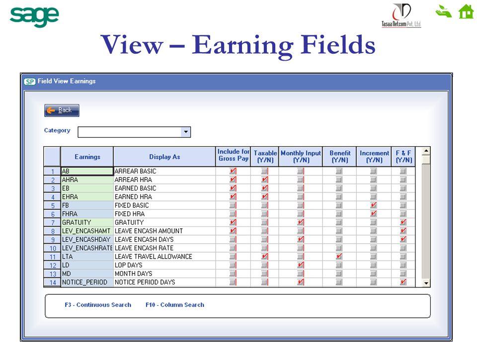 View – Earning Fields