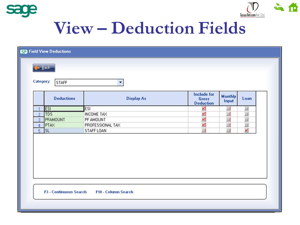 View – Deduction Fields