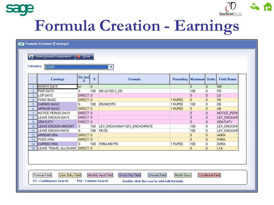 Formula Creation - Earnings