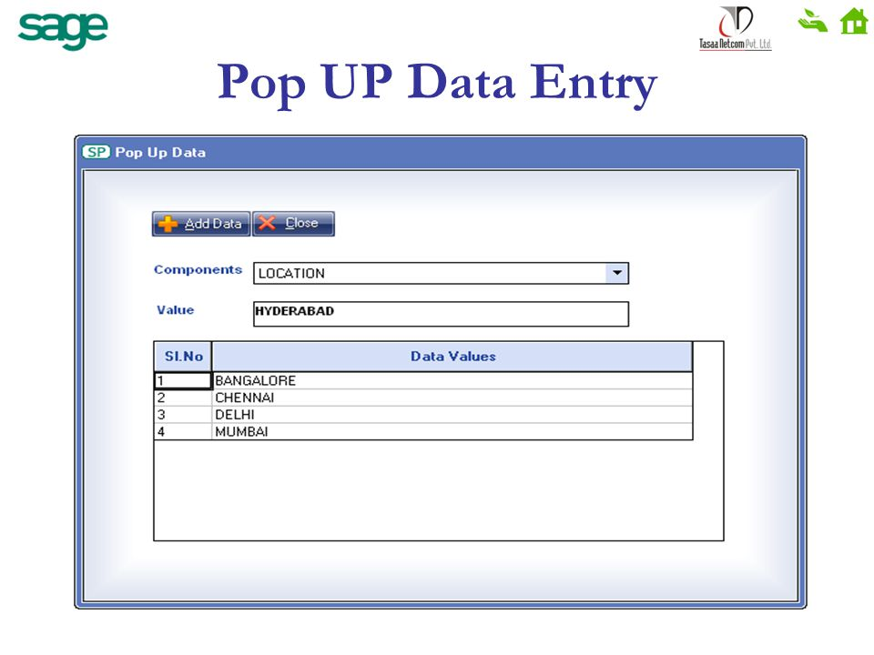 Pop UP Data Entry