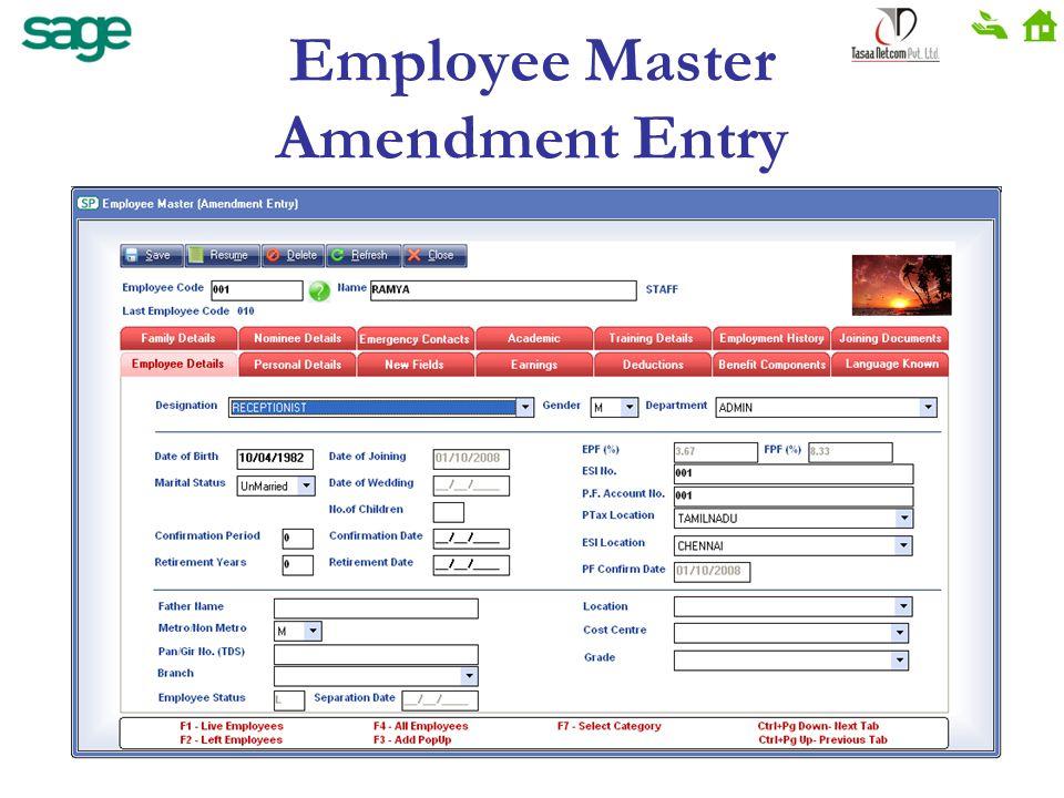 Employee Master Amendment Entry