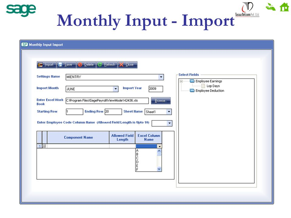 Monthly Input - Import