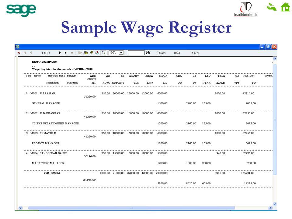 Sample Wage Register