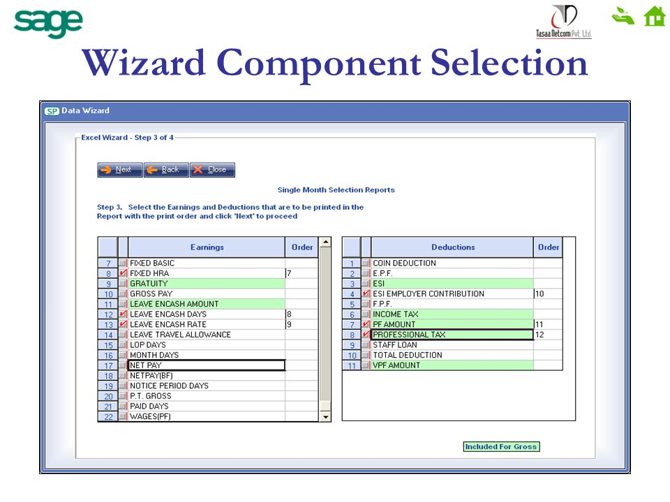 Wizard Component Selection