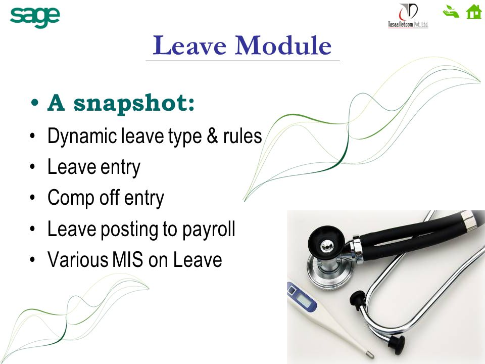 Leave Module A snapshot: Dynamic leave type & rules Leave entry Comp off entry Leave posting to payroll Various MIS on Leave