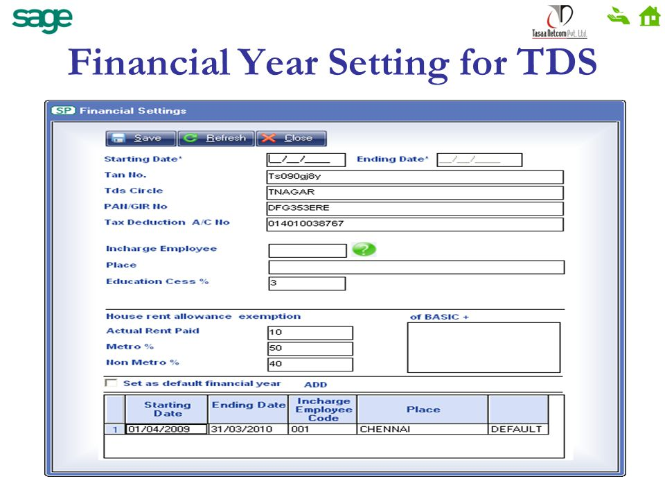 Financial Year Setting for TDS