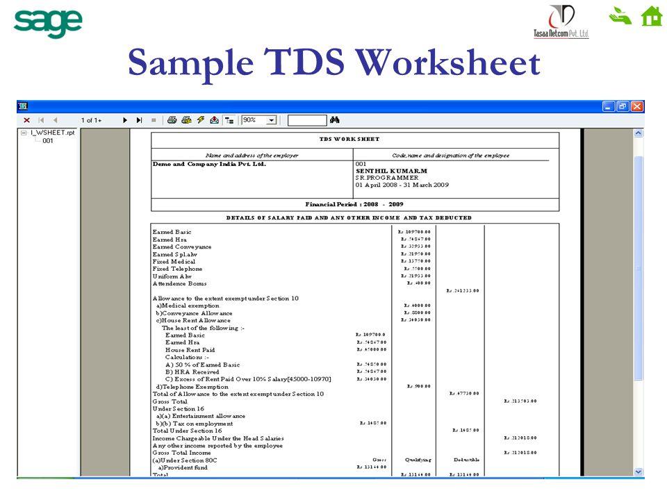 Sample TDS Worksheet