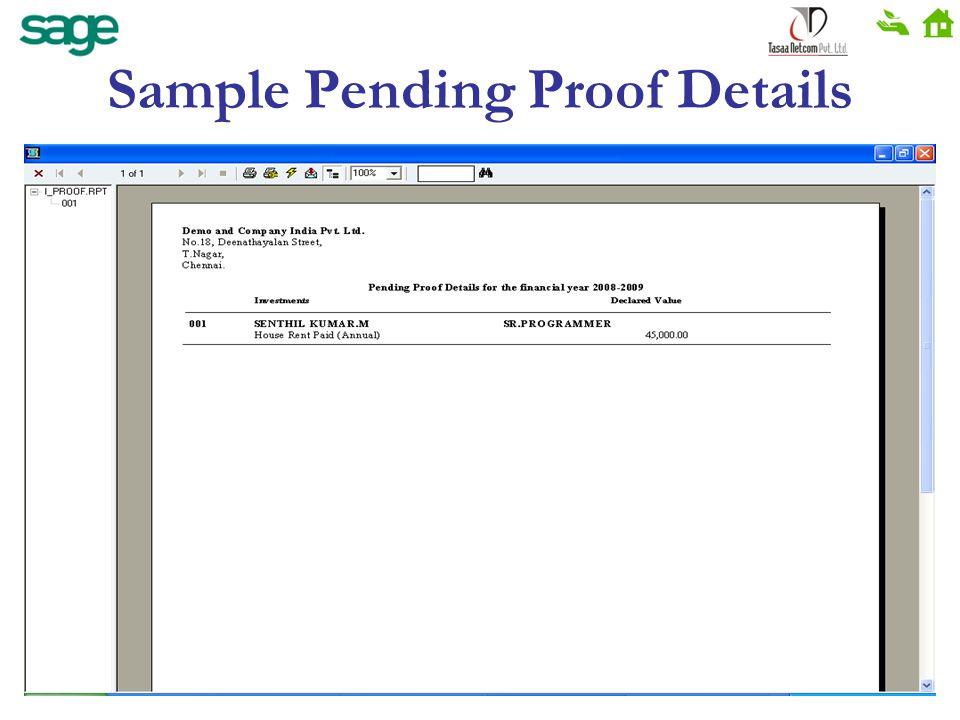 Sample Pending Proof Details