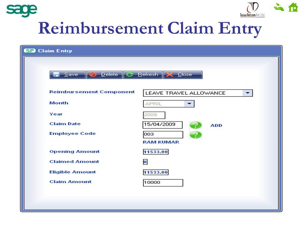Reimbursement Claim Entry