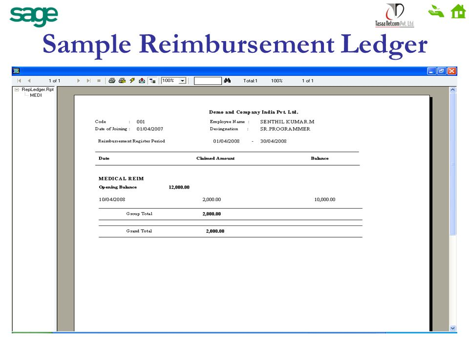Sample Reimbursement Ledger