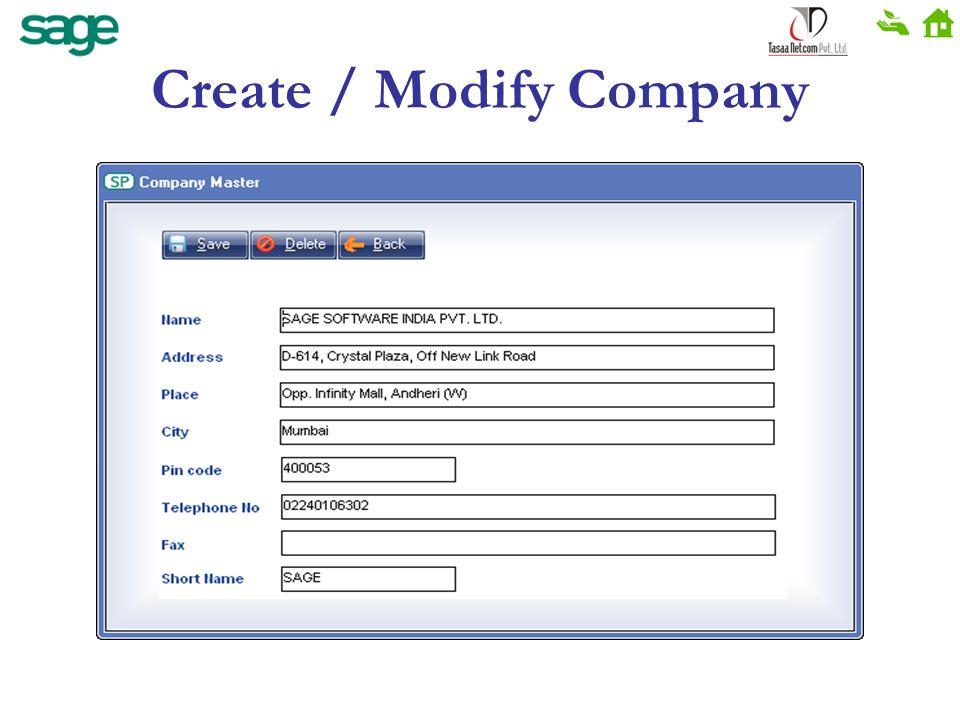Create / Modify Company