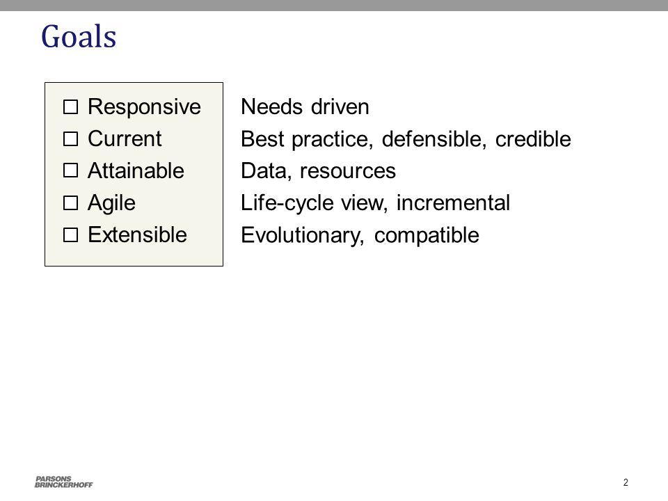 Goals Responsive Current Attainable Agile Extensible Needs driven Evolutionary, compatible Life-cycle view, incremental Data, resources Best practice, defensible, credible 2