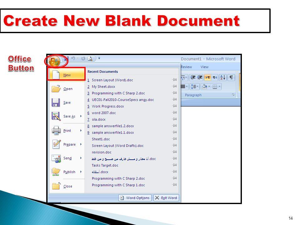 14 Create New Blank Document