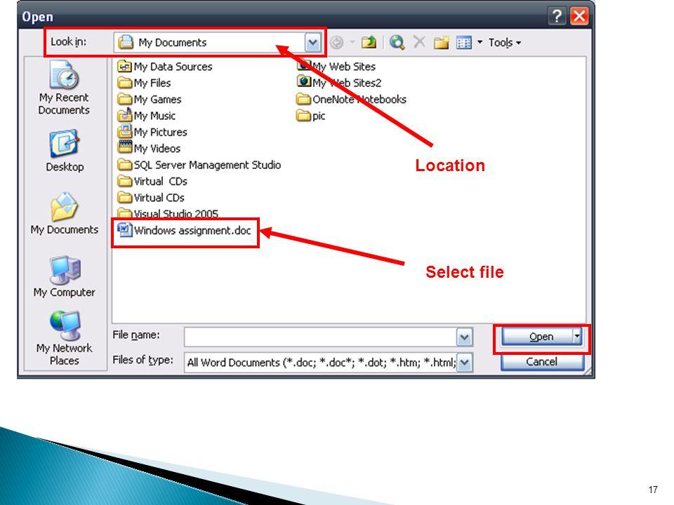 17 Select file Location