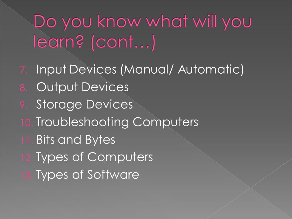 7.Input Devices (Manual/ Automatic) 8. Output Devices 9.