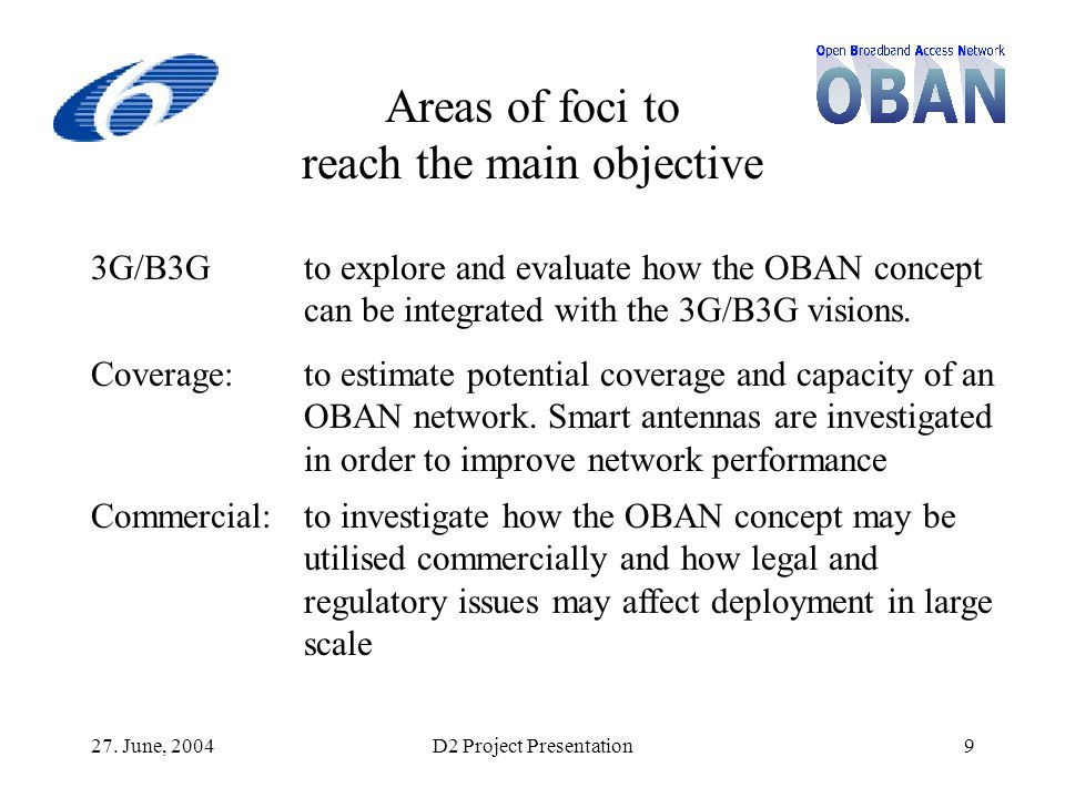27. June, 2004D2 Project Presentation9 Areas of foci to reach the main objective 3G/B3Gto explore and evaluate how the OBAN concept can be integrated