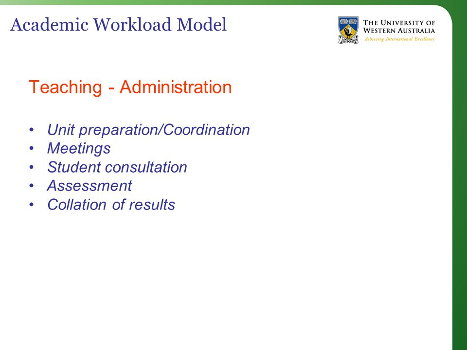 Academic Workload Model Teaching - Administration Unit preparation/Coordination Meetings Student consultation Assessment Collation of results