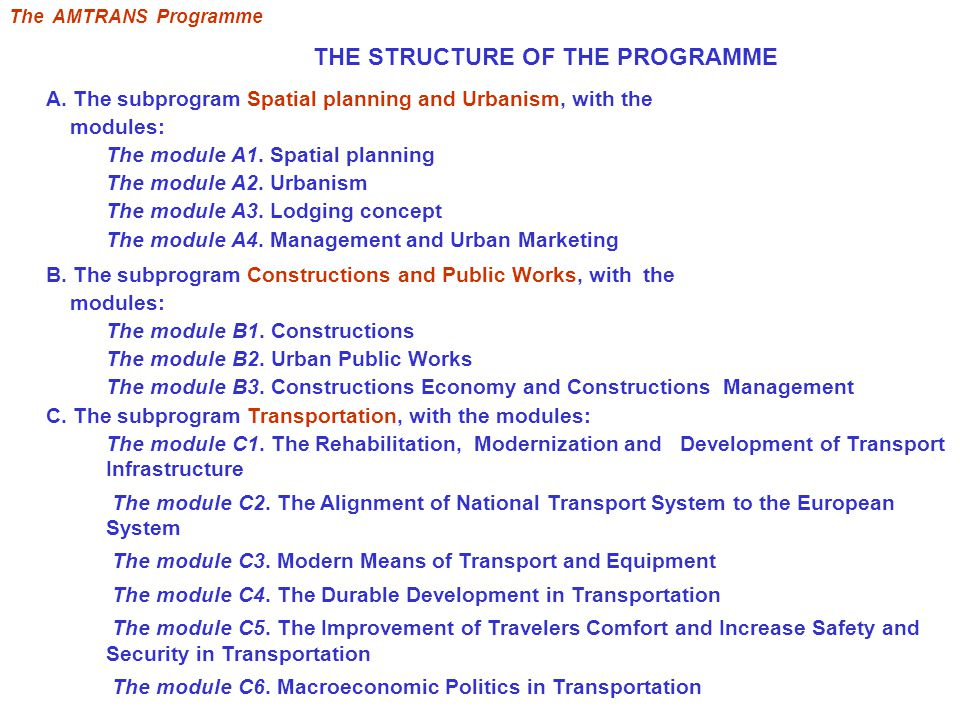 THE STRUCTURE OF THE PROGRAMME A.