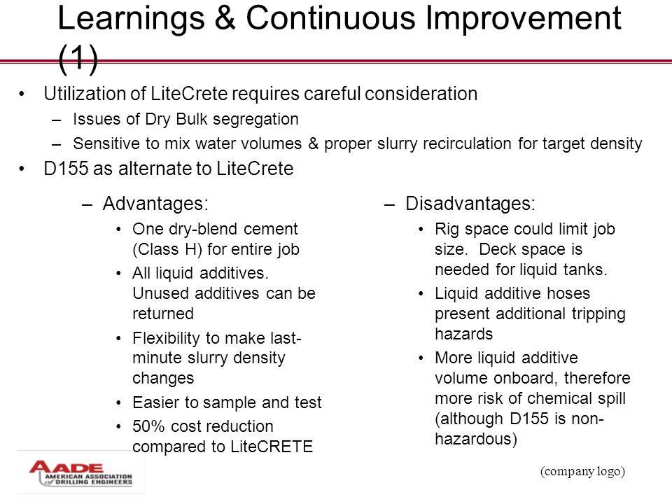 (company logo) Learnings & Continuous Improvement (1) Utilization of LiteCrete requires careful consideration – Issues of Dry Bulk segregation – Sensi