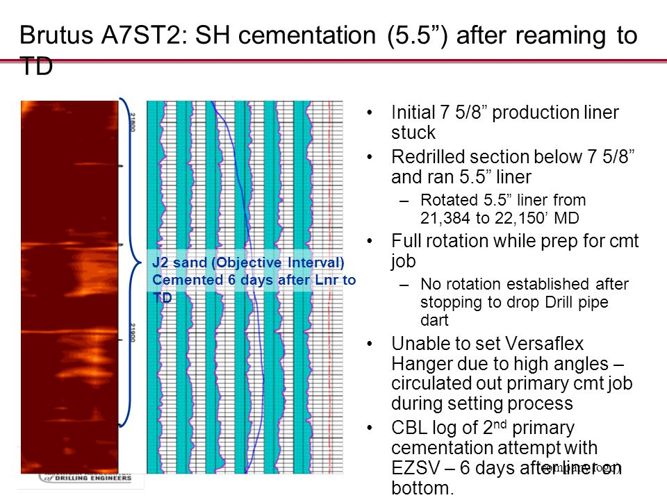 """(company logo) Brutus A7ST2: SH cementation (5.5"""") after reaming to TD Initial 7 5/8"""" production liner stuck Redrilled section below 7 5/8"""" and ran 5."""