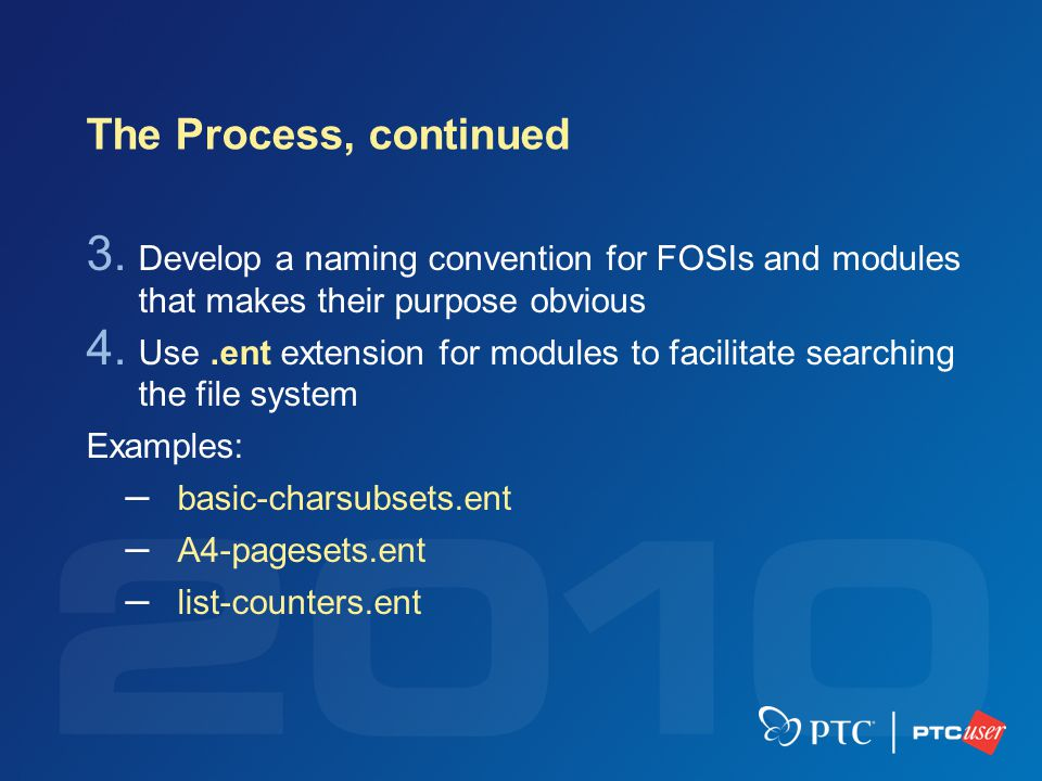 The Process, continued 3. Develop a naming convention for FOSIs and modules that makes their purpose obvious 4. Use.ent extension for modules to facil