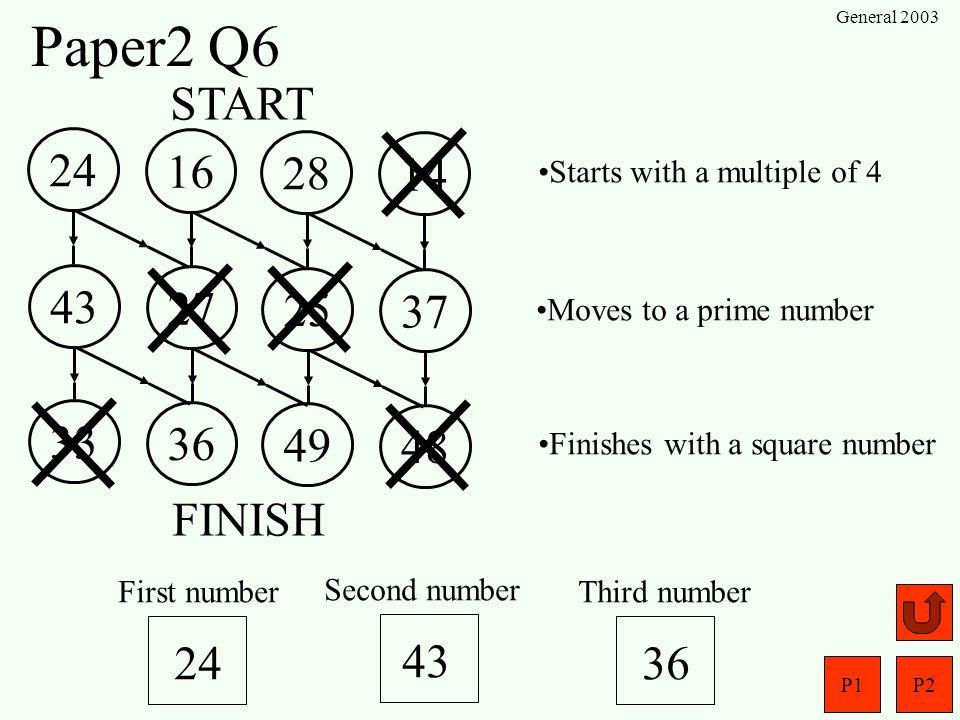 P1P2 General 2003 Paper2 Q5 x-404 y (a) (b) y = 2x -1 x = -4 y = 2(-4)-1= -9 -9 x = 0 y = 2(0)-1= -1 x = 4 y = 2(4)-1 = 7 7